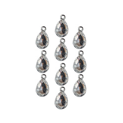Pendant glass drop 10x14mm silver 10pcs