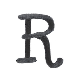 Patch letter R 50mm dark grey 1 pcs