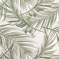 Voile white w green palm leaves