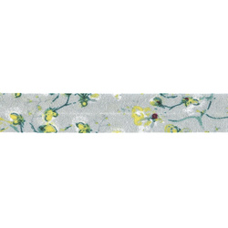 Bias tape cotton 18mm mint w/flowers 3m