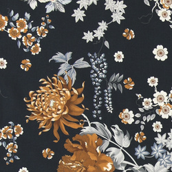 Bomulds satin stretch navy med blomster
