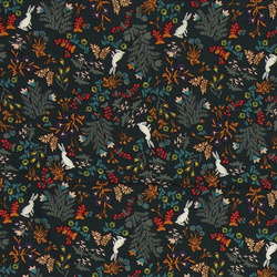 Woven viscose dark green w forest print