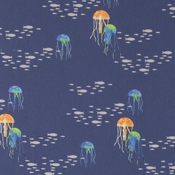 Cotton royal blue with jellyfish