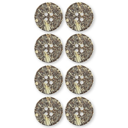 Button 4-holes 20mm brown/structure 8pc