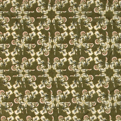 Woven wool/viscose green w flowers