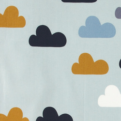 Cotton light blue w multicolour clouds