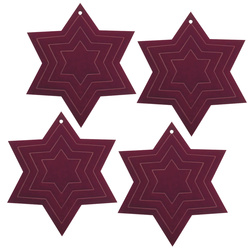 Deco star 65x65mm bordeaux 4 pcs
