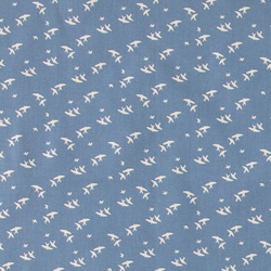 Cotton dark blue w flying birds