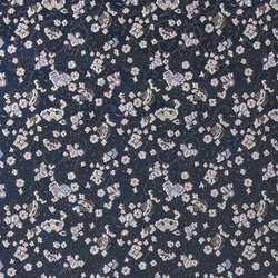 Woven jacquard blue w japanese flowers