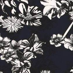 Woven viscose black and navy w flowers