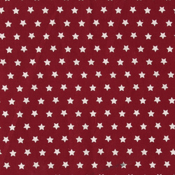 Woven cotton red with white stars