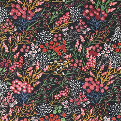 Percale black w berry/flower print