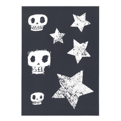 Stensil sjablong star & scull 210x290mm
