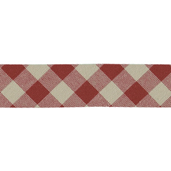 Bias tape big checked 30mm red/nature 5m