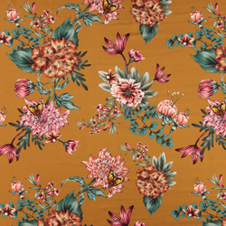 Woven crepe viscose golden w big flowers