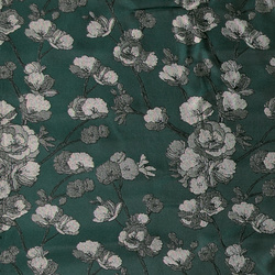 Woven jacquard dark green with flowers