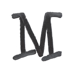 Patch letter M/W 50mm dark grey 1 pcs