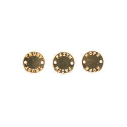 Pendant round tag 12mm gold 3pcs